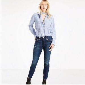 NWT Levi's 501 dark wash high rise skinny jeans